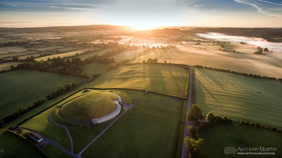 Summer solstice sunrise at Newgrange from drone