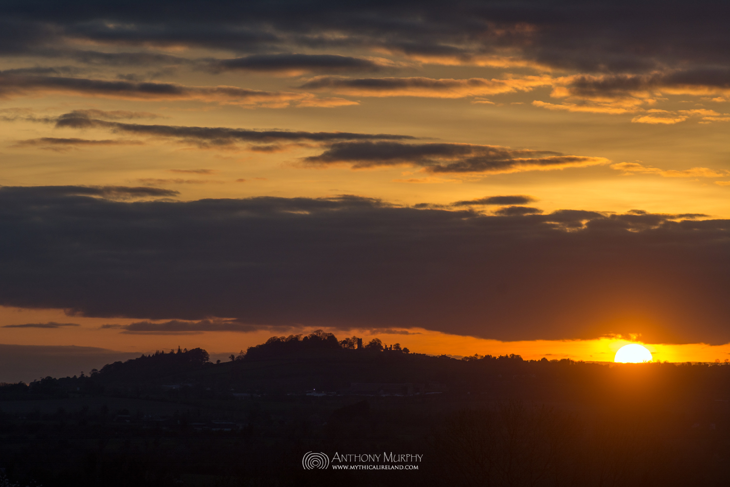 Sunset and the Hill of Slane