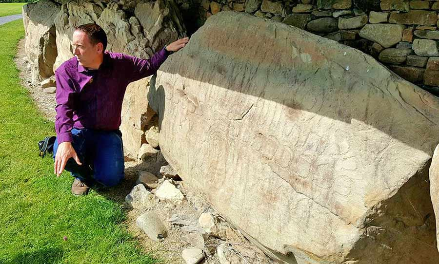 Anthony Murphy of Mythical Ireland at Knowth Calendar Stone