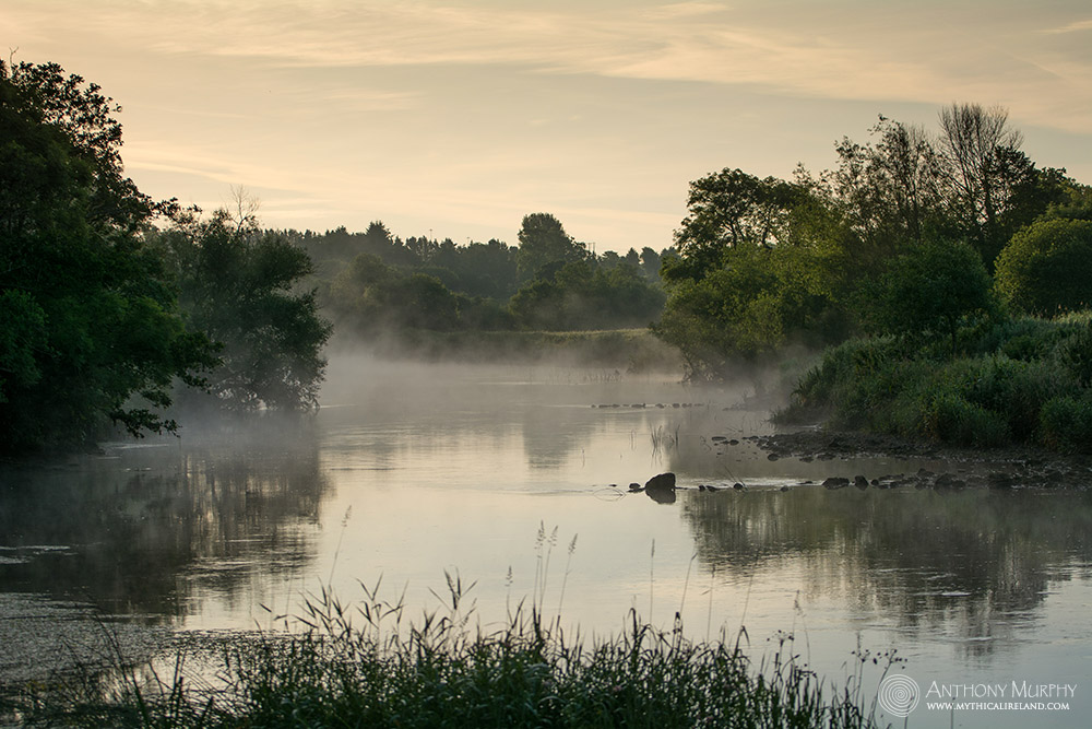 The River Boyne in the mist.