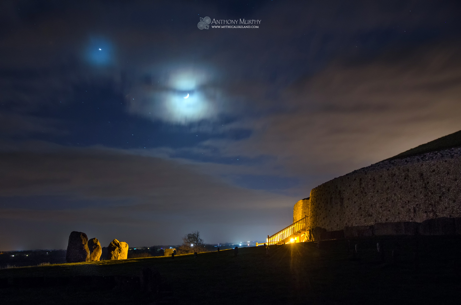 Moon and Venus at Newgrange