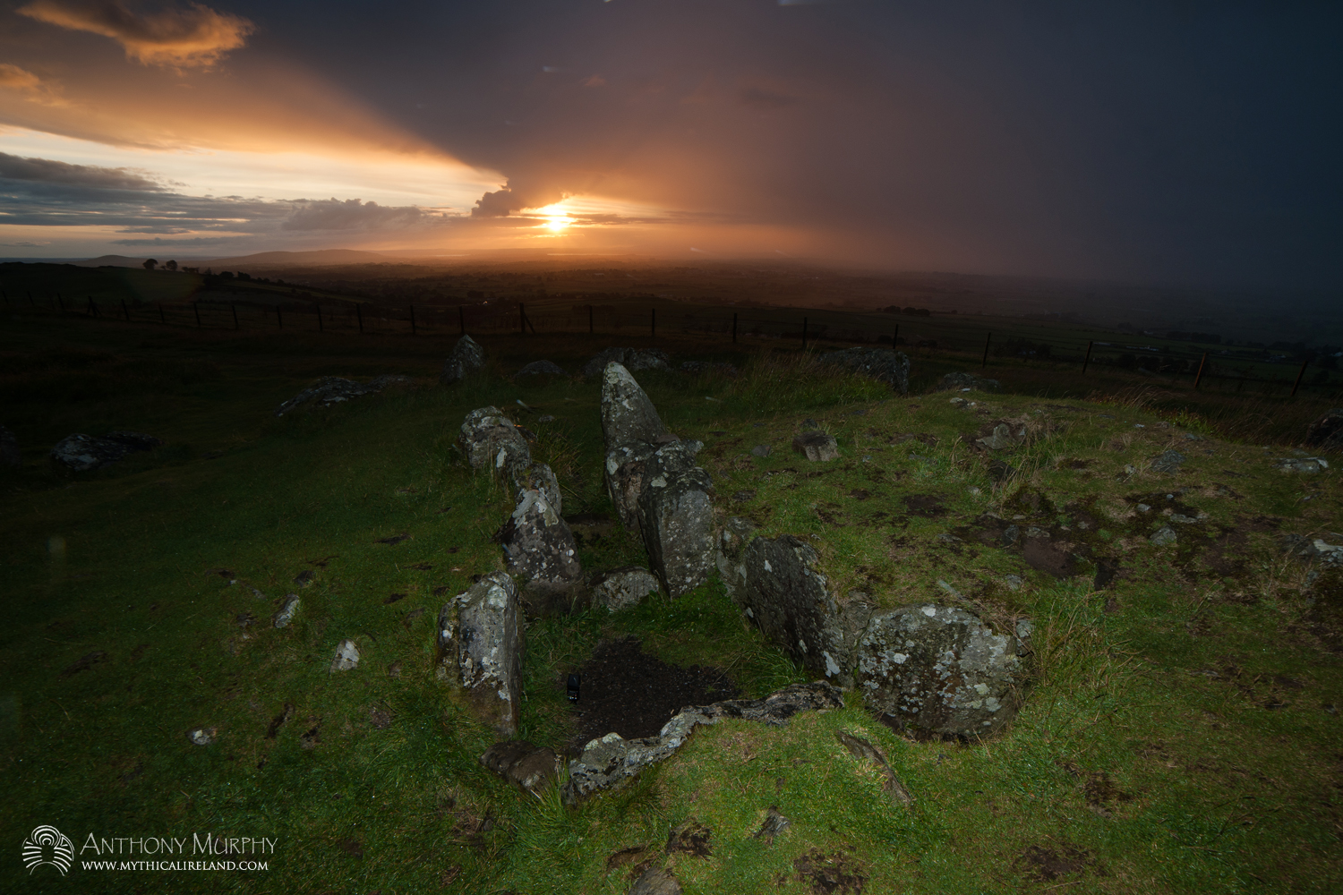 Lughnasa sunset at Cairn S Loughcrew