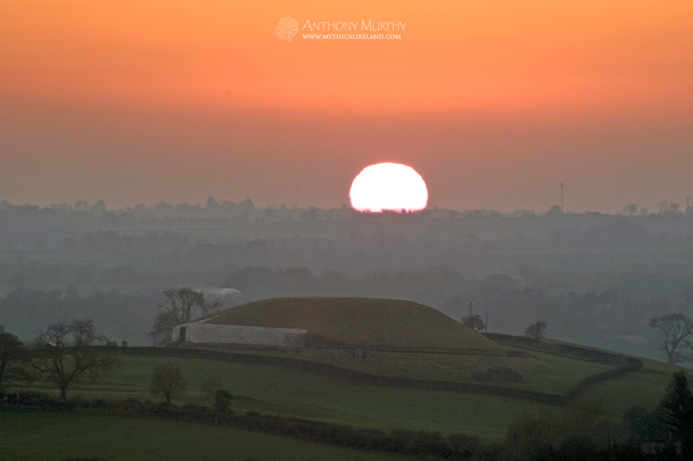 Samhain sunset from Dowth over Newgrange